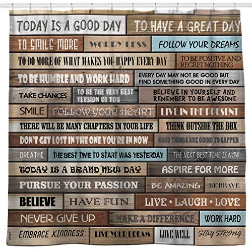 Sunlit Inspirational Motivational Happiness Quotes for Courage Be Awesome Poster Print Rustic Cabin Shower Curtain Teak Closet Curtain Home Bathroom Decor Fabric Quote -