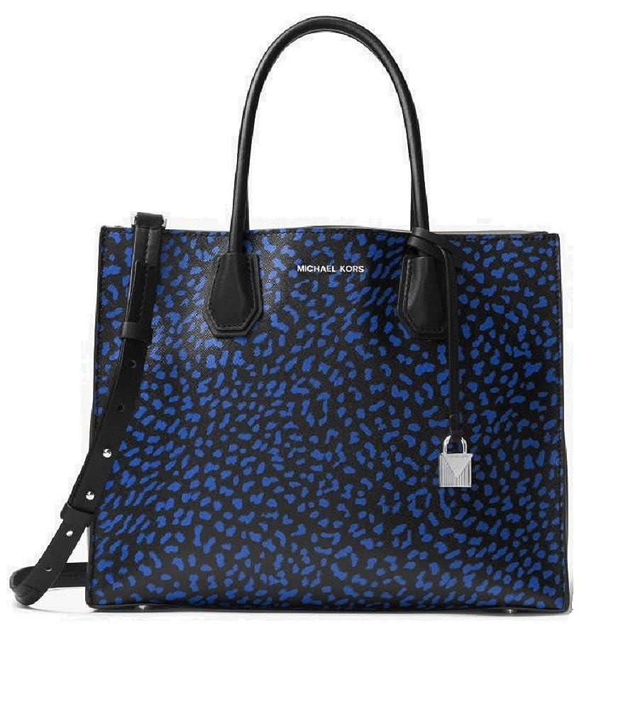 87247e909367 Amazon.com: MICHAEL Michael Kors Mercer Large Leopard Leather Tote Bag ,  Electric Blue Black: Shoes