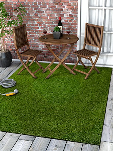 Well Woven Super Lawn Artificial Grass Rug Indoor/Outdoor Carpet Synthetic Turf Fade Resistant Easy Care 5'3