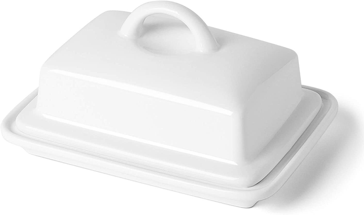 Porcelain Butter Dish with Lid - Large Enough for 8oz European Butter and 2 Sticks of East/West Coast Butter, White - Better Butter & Beyond