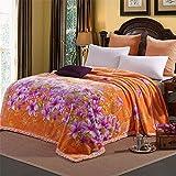 Thickened double raschel blanket warm winter Coral Fleece Blanket Quilt double dormitory blanket,160cmX210cm (2.4kg),Full-blown flowers Thanksgiving wedding Christmas birthday gift