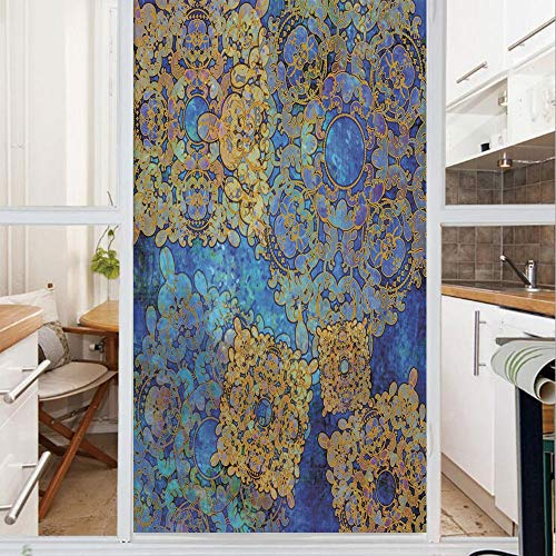 Decorative Window Film,No Glue Frosted Privacy Film,Stained Glass Door Film,Traditional Persian Motif Oriental Moroccan Effects Exotic Style Boho Design,for Home & Office,23.6In. by 78.7In Light Coffe