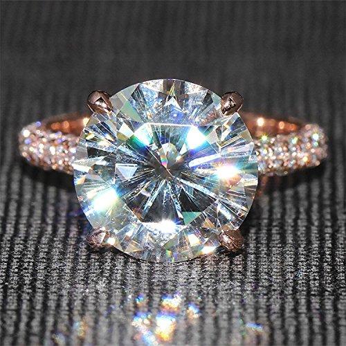 Gowe 5carats CT f fiançailles de couleur Lab Cultivées Charles en diamant avec accents de diamant solide 14K 585Or rose