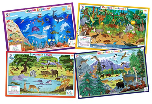 Animals Nature- Educational Kids Placemats- Set of 4 Table Mats: Ocean, Jungle, Savanna, Mountain Animals- Reversible Activities Coloring- Waterproof, Washable, Wipeable, Durable, USA-made by Tot Talk (Savanna Animals)