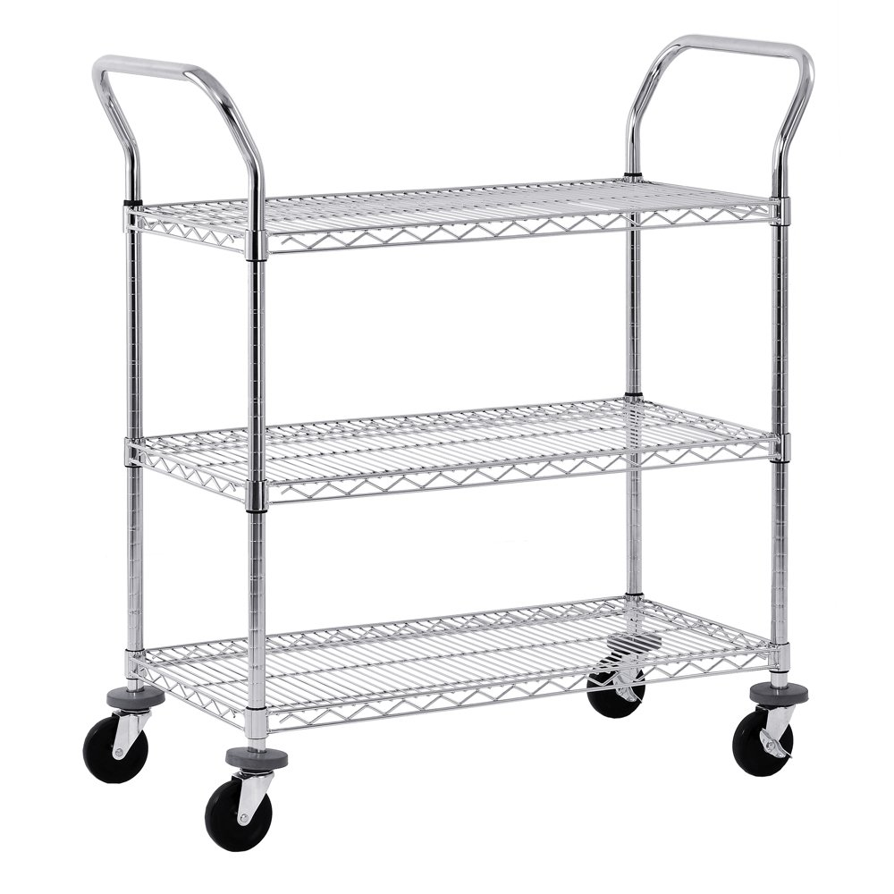 "Sandusky MWS482438 Adjustable Wire Shelf Cart with Pull Handle, 800 lbs Maximum Capacity, 48"" Width x 38"" Height x 24"" Depth, Chrome"