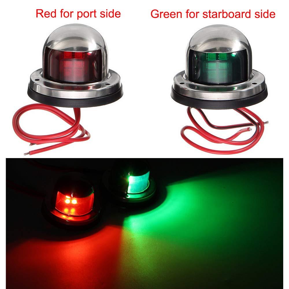 FICBOX One Pair LED Navigation Light Marine Boat Yacht Light 12V Deck Mount Signal Lights for Boat Yacht Pontoons