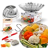 chef center cookbook holder - Large Folding Vegetable Steamer Basket insert 100% Stainless Steel, Fits 5/6/8 qt Instapot Electric Pressure Cooker, BONUS TOOLS Safety Tool, Multifunction Peeler, Pairing Knife, Healthy Recipes eBook