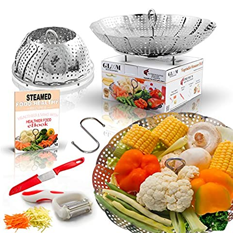 Premium Vegetable Steamer Basket Fits Instant Pot Pressure Cooker,Steam Food with folding steamer Insert 100% Stainless Steel. BONUS ACCESSORIES Safety Tool, Multifunction Peeler,Sharp Knife And - Clam Steamer Pot