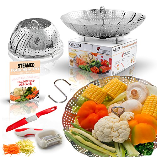 Large Folding Vegetable Steamer Basket insert 100% Stainless Steel, Fits 5/6/8 qt Instapot Electric Pressure Cooker, BONUS TOOLS Safety Tool, Multifunction Peeler, Pairing Knife, Healthy Recipes (Hamilton Asparagus)