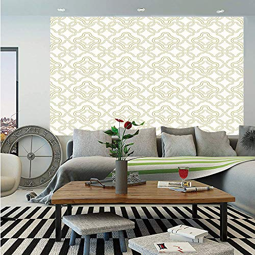 (Ivory Huge Photo Wall Mural,Geometric Shabby Chic Motif with Classic Effect Rococo Style Oriental Arabesque Design,Self-Adhesive Large Wallpaper for Home Decor 100x144 inches,Cream Tan)