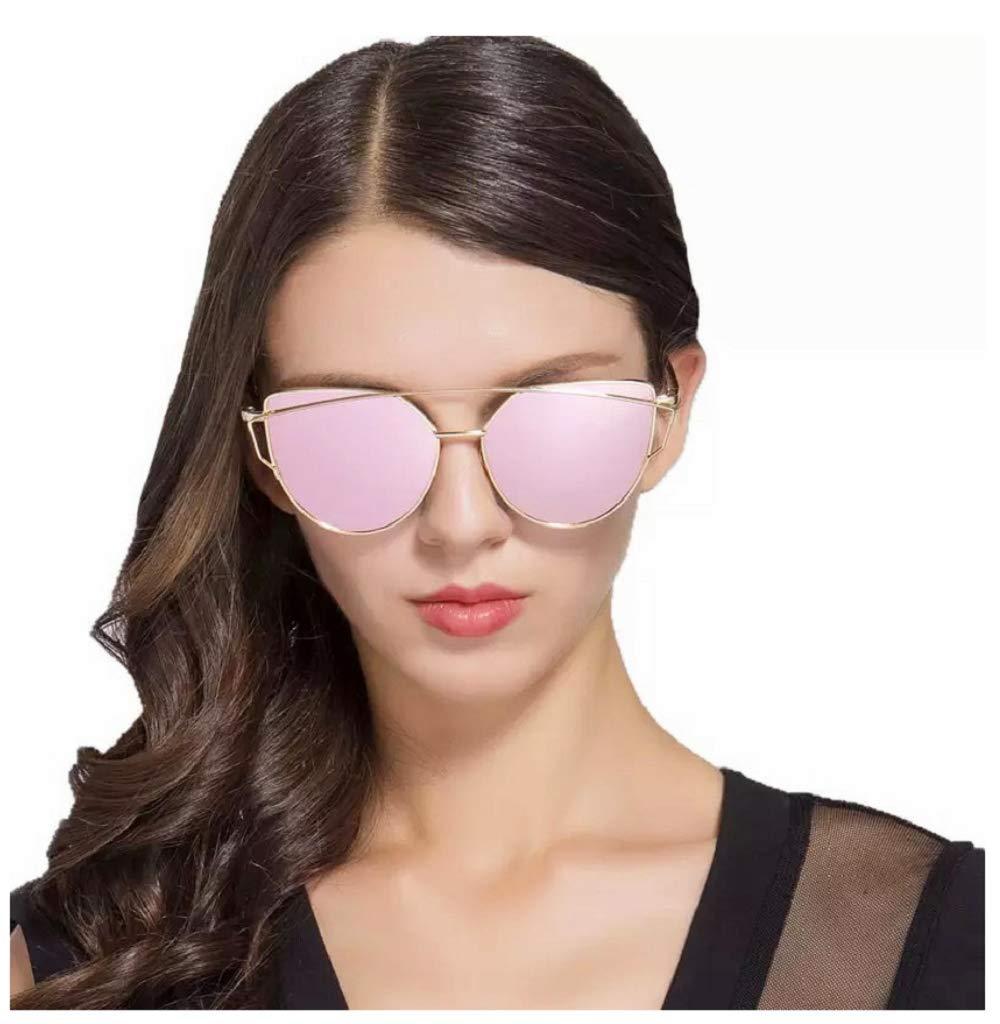 decdc67ffef0 Amazon.com  Large-Oversized-Cat-Eye-Sunglasses-Metal-Frame-Flat-Mirror-Lens- Women-Fashion Rose Gold Mirrored  Toys   Games