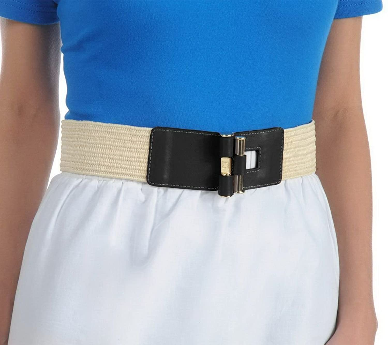 Liz Claiborne New York Straw Stretch Belt with Toggle Closure