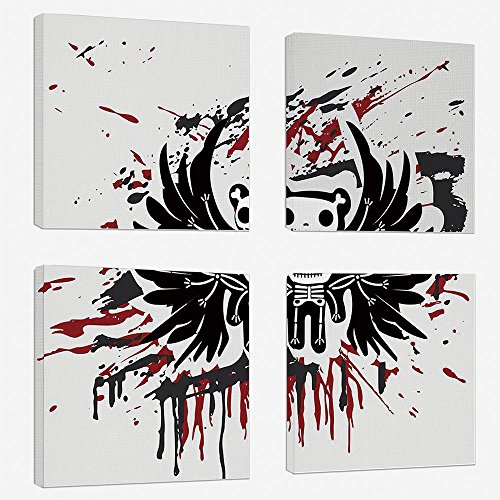 (4pcs/set Modern Painting Canvas Prints Wall Art For Home Decoration Halloween Print On Canvas Giclee Artwork For Wall DecorTeddy Bones with Skull Face and Wings Dead Humor Funny Comic Terror)