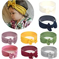 Baby Nylon headbands Turban Knotted Girls Hairband Super Soft and Stretchy Hair Wrap for Newborn Toddle Childrens (Pack of 8#1)