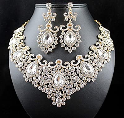 Janefashions Stunning Clear Austrian Rhinestone Crystal Necklace Earrings Set N12187G Gold