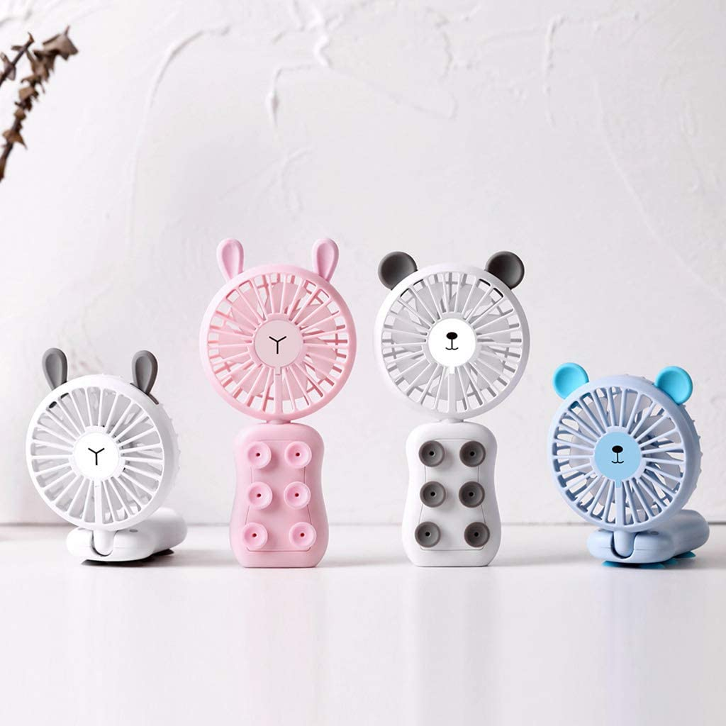 ForHe 3 in 1 Cute Foldable USB Fan LED Light 2 Speed Adjustable Desktop Cooling Fan 4 Colors Optional Handheld Rechargeable Fan Cellphone Suction Cup Holder