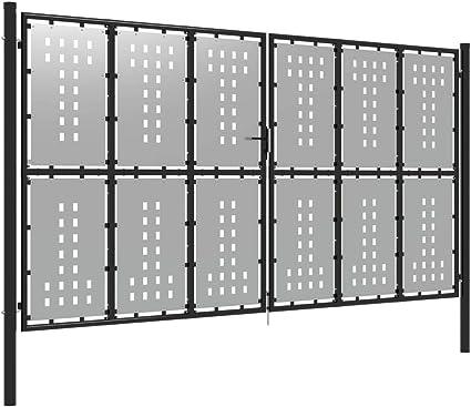 Festnight Puerta de Jardín de Acero Plateado Puerta Galvanizada Puerta Jardin Metalica 400x175 cm: Amazon.es: Hogar