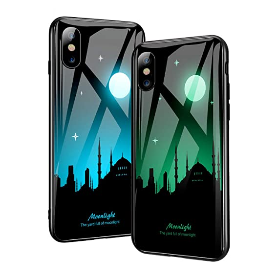 sports shoes e73f5 5743e Fit iPhone X Case and iPhone Xs Case,Luminous Noctilucent Tempered Glass  Back Cover with Cool Pattern Glows in Dark Case with Slim Fit Soft Silicone  ...