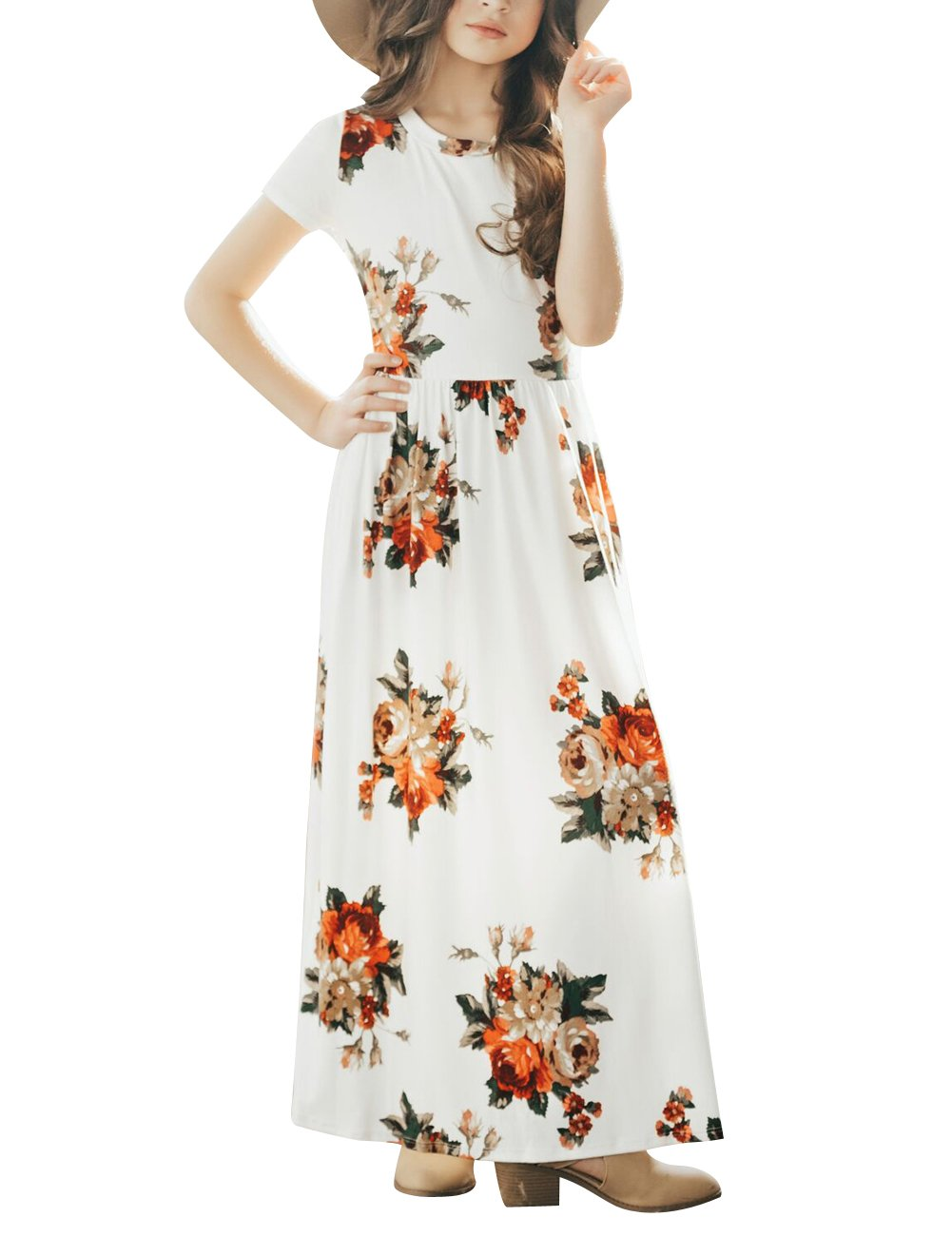 MEROKEETY Girl's Floral Short Sleeve Long Dress Summer Maxi Dress with Pockets by MEROKEETY (Image #1)