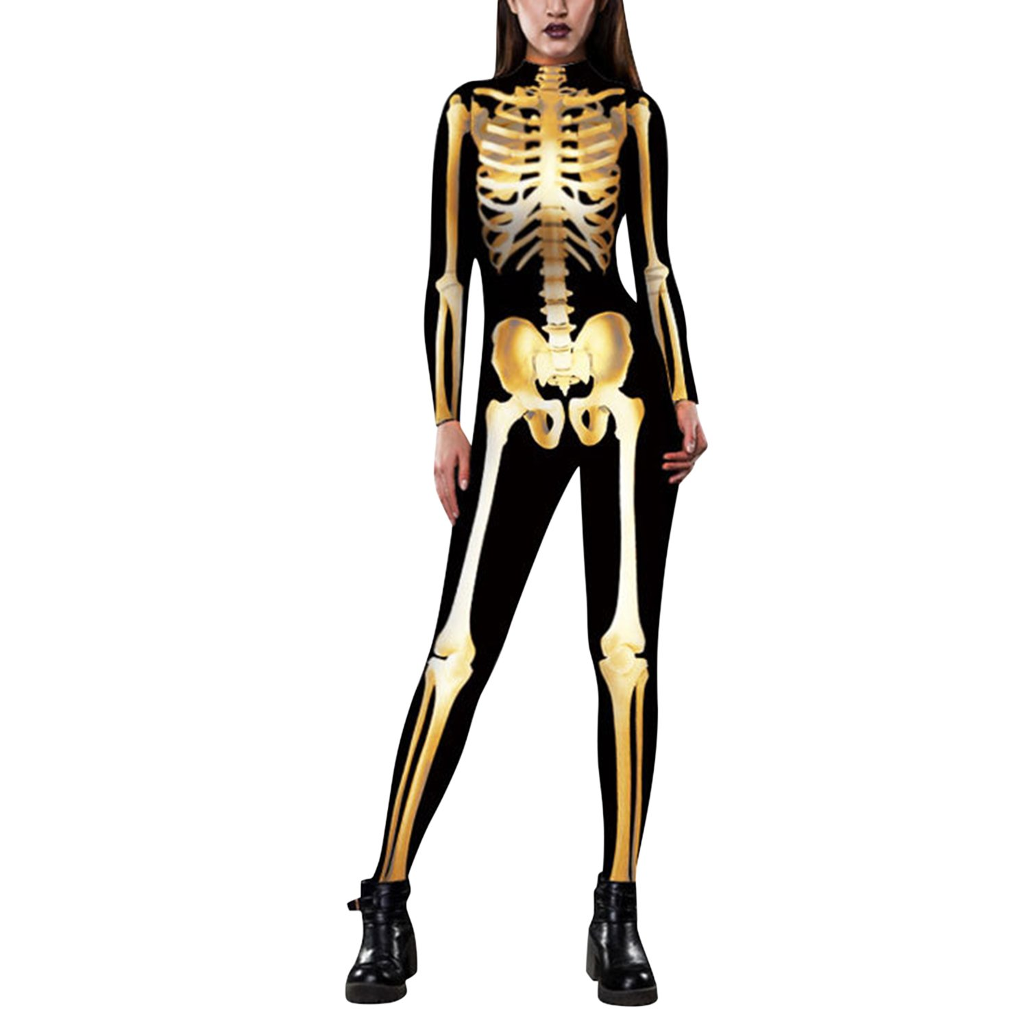 Lisli Womens Halloween Skeleton Print Catsuit Adult Onepiece Full Bodysuit Costume