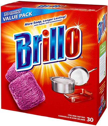 (Brillo® Steel Wool Soap Pads 794628302188 Original Scent (Red), 30-Count Jumbo Pack)