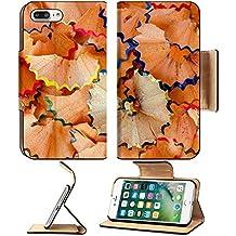 Luxlady Premium Apple iPhone 7 Plus Flip Pu Leather Wallet Case iPhone 7 Plus 26002715 Closeup of a colorful pencil wood shaving