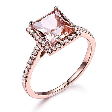 0459df8b08ccc 7mm Princess Cut Pink Morganite 14k Rose Gold Engagement Ring Diamond Halo  Wedding Band Bridal Promise