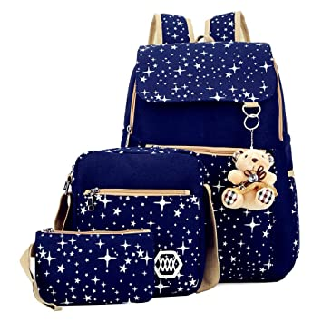 46744bce45e3 Girls 3 Pieces Canvas School Backpack Set Patterned Bookbag Laptop School  Backpack (Blue)