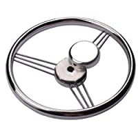 9-spoke 13-1/2 Inch Stainless Steel Steering Wheel For Marine Boat,15 Degree Dish