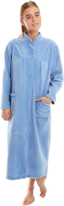 Albornoz, bata larga para el baño, con forro de polar, para mujer, tamaño 1012141618202224.