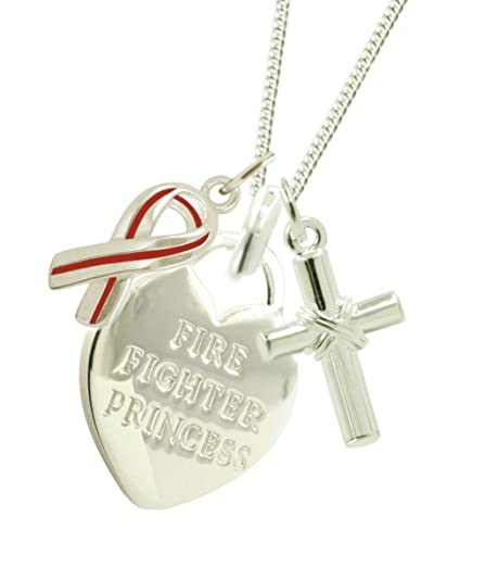 firefighters fearless amazing necklace center crop red heart girlfriend firefighter women collections
