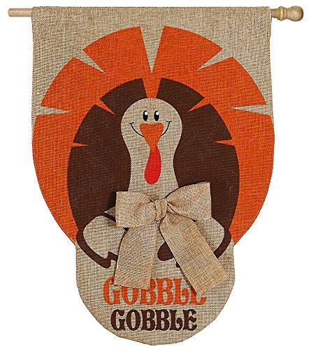 Evergreen Enterprises 13B3564 Gobble Turkey Burlap House Flag