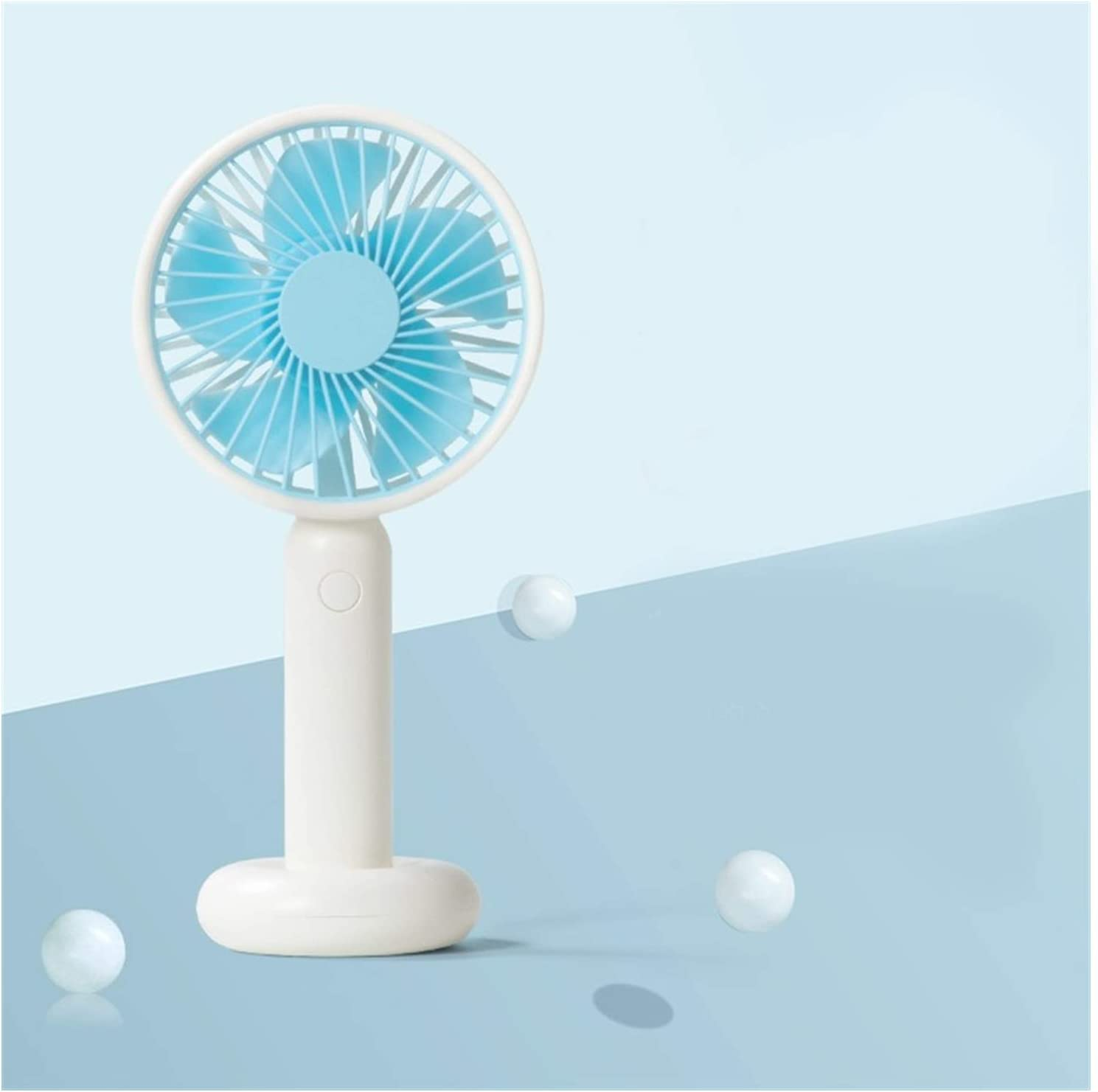 Air Cooling Fan Mini Round Fan USB Portable Handheld Desktop Electric Fan Large Wind Outdoor Cooling Fans Color : Blue