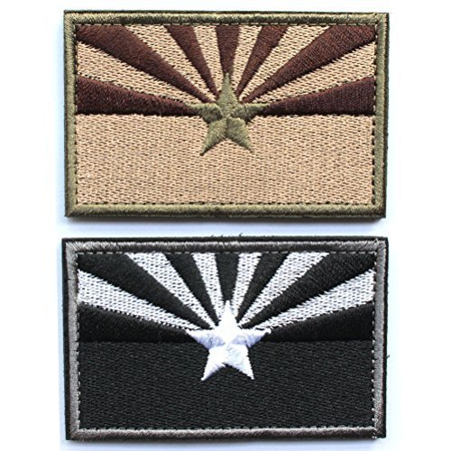 Bundle 2 Pieces - Tactical Arizona State Flag Patch with Backing Multi-tan Black White Decorative Embroidered Appliques 2