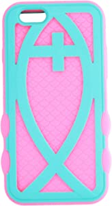Asmyna Rubberized Hybrid Protector Cover for iPhone 6 - Retail Packaging - Teal Green/Electric Pink Fish