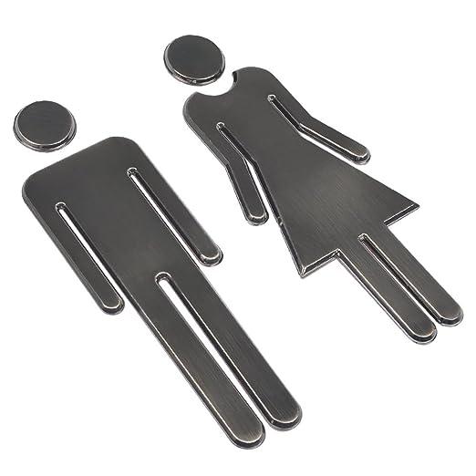 BUYGOO 2 Piezas Señales de Puerta de Hombre y Mujer Adhesiva Baño Cartel Moderno para Tienda/Cafetería/Restaurante/Centro Comercial