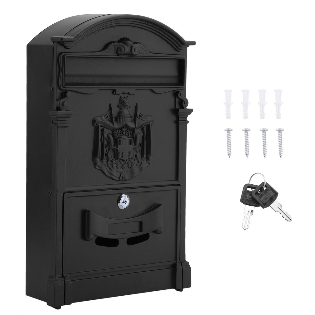 Belovedkai Outdoor Mailbox, Wall Mounted Vintage Mail Box Locking Post Box Secure Letterbox for Home Garden (Black)
