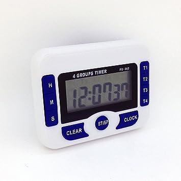 Reloj Digital Fontiene/temporizador de cocina con 4 canales – temporizador Digital/cronómetro con