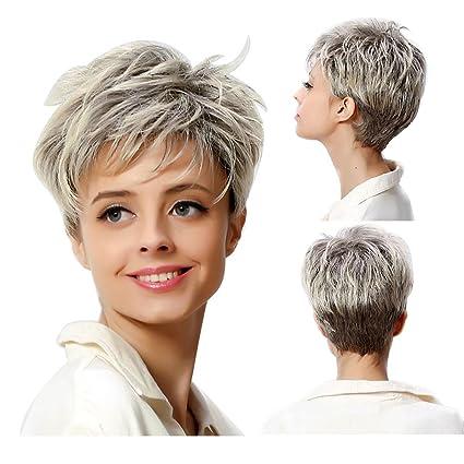 Peluca gris corta con pelo resistente al calor, pelo para mujeres y señoras