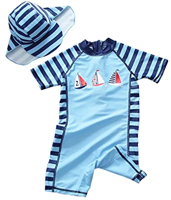 00b10eaf8c Amazon.com: Baby Boys Stripe Sailboat Print Rash Guard One-Piece Swimsuit  Sun Protection Bathing Suit: Clothing