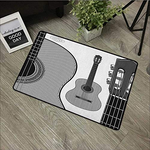 (Hall mat W35 x L59 INCH Guitar,Monochrome Design Striped Acoustic Classical Instruments Folk Country Music Concert, Black White Easy to Clean, no Deformation, no Fading Non-Slip Door Mat Carpet)
