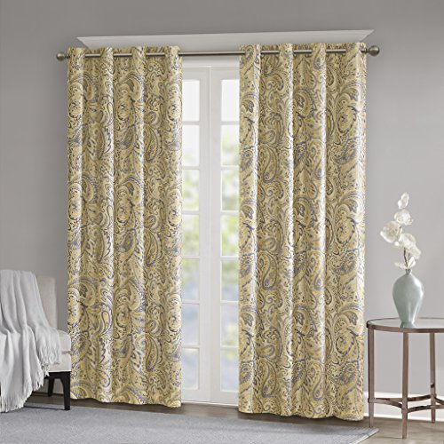 Blackout Curtains For Bedroom , Traditional Grommet Yellow Window Curtains For Living Room Family Room ,  Jenelle Paisley Therma Black Out Window Curtain For Kitchen, 50X63