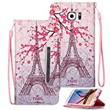 Galaxy S6 Edge Plus Case, S6 Edge+ Case, Etubby [Wallet Stand] New PU Leather Wallet Flip Protective Case with Card Slots and Wrist Strap for Samsung Galaxy S6 Edge Plus / S6 Edge+ (2015) - Paris