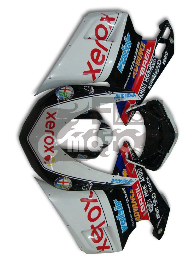 FlashMoto ducati デュカティ 1098 848 2007 2008 2009 2010 2011 2012 1198用フェアリング 塗装済 オートバイ用射出成型ABS樹脂ボディワークのフェアリングキットセット ブラック, ホワイト   B07L88HNFL