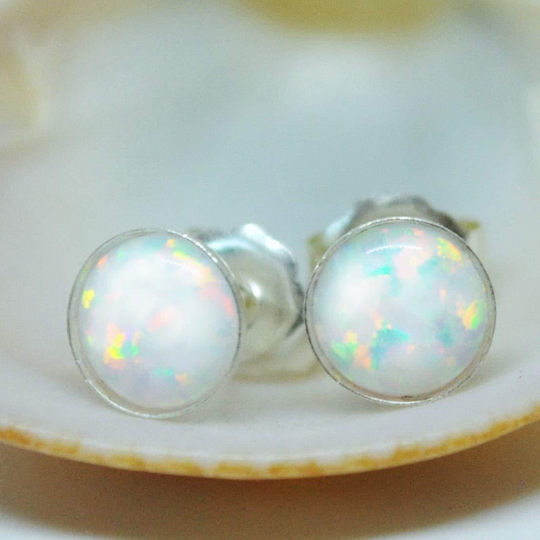 white opal stud earrings Classic opal stud earrings Small opal earrings
