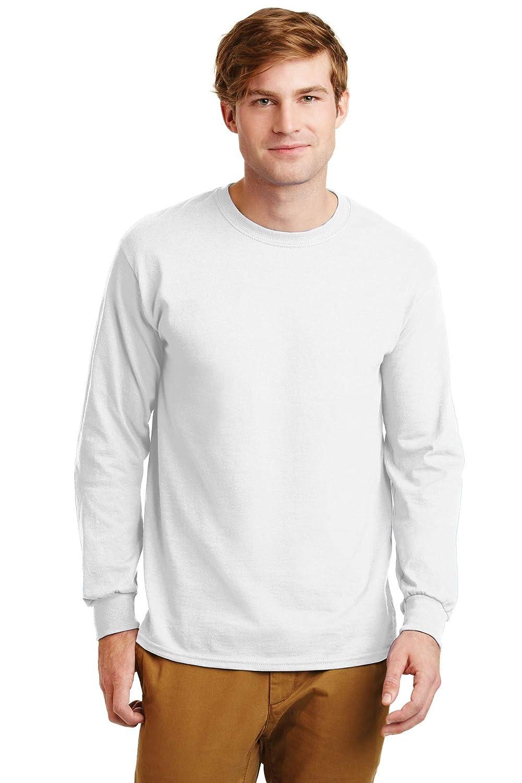 Ultra Cotton 100/% Cotton Long Sleeve T-Shirt G2400 White Gildan