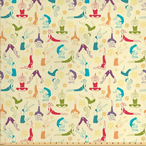 (Ambesonne Yoga Fabric by The Yard, Workout Themed Fitness Girls Pattern Abstract Meditation Postures Arrangement Asian, Decorative Fabric for Upholstery and Home Accents, 3 Yards, Multicolor)