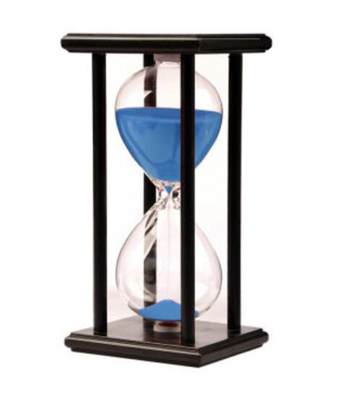 LiMeiW 30 minutes Hourglass Wooden sand Timer 45 Mins Home decoration Kitchen timer (30 minutes black box blue)