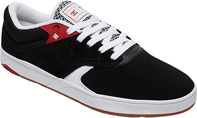 DC Mens Tiago S Black White Red Shoes