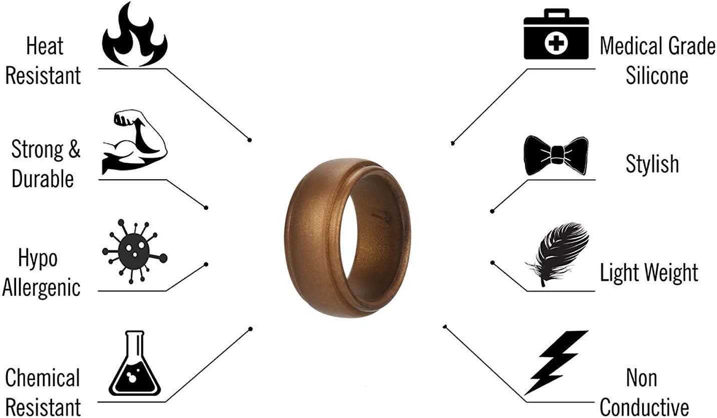 ATORX Silicone Ring for Men -7 Pack Comfortable Fit Skin Safe Size 7-13 7 Color Silicone Wedding Rings Perfect for Gift Breathable Mens Silicone Wedding Bands- Step Edge Sleek Design